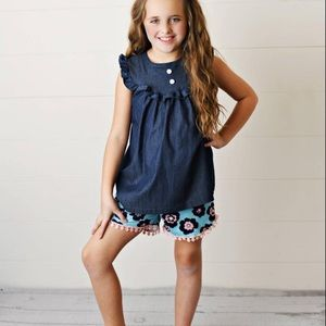 Girls Jean flower set
